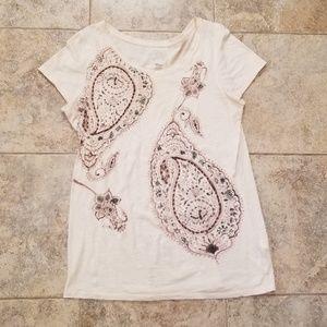 Lucky Brand Good Condition Paisley Tan Tee Shirt